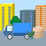 与动画片箱子的移动的轨道和植物导航例证 库存例证