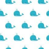 与动画片蓝鲸的逗人喜爱的背景 Kawaii动物样式 向量例证