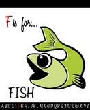 与动画片鱼的被说明的词汇量活页练习题卡片 免版税库存照片