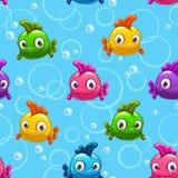 与动画片五颜六色的鱼的无缝的样式 免版税库存图片
