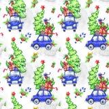 与动画片假日汽车、树和礼物的水彩无缝的样式 新年度 多孔黏土可用的庆祝文件例证以图例解释者 快活 免版税库存图片