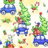 与动画片假日汽车、树和礼物的水彩无缝的样式 新年度 多孔黏土可用的庆祝文件例证以图例解释者 快活 免版税库存照片