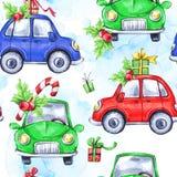 与动画片假日汽车和礼物的水彩无缝的样式 新年度 多孔黏土可用的庆祝文件例证以图例解释者 快活的圣诞节 库存图片