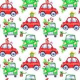 与动画片假日汽车和礼物的水彩无缝的样式 新年度 多孔黏土可用的庆祝文件例证以图例解释者 快活的圣诞节 图库摄影