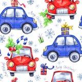 与动画片假日汽车和礼物的水彩无缝的样式 新年度 多孔黏土可用的庆祝文件例证以图例解释者 快活的圣诞节 库存例证