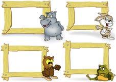 与动画片动物的木框架 免版税图库摄影