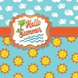 与动画片太阳和clouds.eps的背景你好夏天 免版税库存图片
