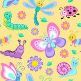 与动画片愉快的昆虫的逗人喜爱的无缝的样式 库存照片