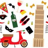 与动画片意大利标志的无缝的样式-比萨塔,减速火箭的滑行车,红葡萄酒,咖啡,薄饼,面团,乳酪,时尚鞋子 图库摄影
