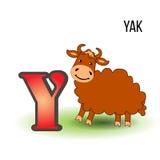 与动画片牦牛的逗人喜爱的动物园字母表Y哄骗在白色背景隔绝的野生动物传染媒介滑稽的例证,教育 库存图片
