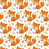 与动画片狐狸和花的逗人喜爱的背景 图库摄影