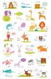 与动画片的逗人喜爱传染媒介动物园字母表和滑稽 库存照片