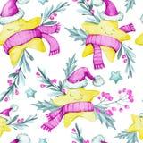 与动画片的水彩无缝的样式在温暖的布料、叶子和莓果担任主角 新年度 快活的圣诞节 免版税库存图片