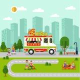 与动画片薄饼搬运车的城市风景 免版税图库摄影