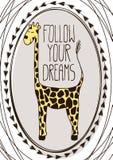 与动画片长颈鹿的逗人喜爱的明信片 免版税库存图片