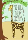与动画片长颈鹿的逗人喜爱的明信片 免版税库存照片