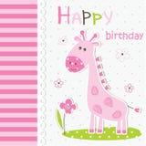 与动画片长颈鹿的逗人喜爱的婴孩贺卡 免版税库存图片