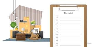 与勘测剪贴板和堆的移动的家庭概念家具背景 免版税库存图片
