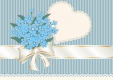 与勿忘草和一个缎子的磁带的花束 库存照片