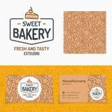 与包括蛋糕的商标的美好的面包店新鲜集合和的标志和 库存例证