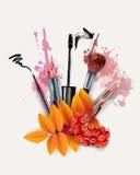 与化妆用品和秋叶的秋天背景 模板传染媒介 免版税库存照片