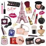 与化妆用品和辅助部件的手拉的集合 免版税库存照片