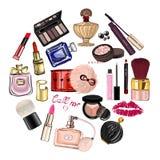 与化妆用品和辅助部件的手拉的集合 图库摄影
