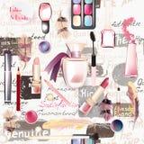 与化妆用品的无缝的时尚样式 库存图片