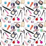 与化妆用品,秀丽项目的无缝的水彩样式 库存例证