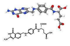 与化学式的维生素B9分子 免版税库存图片