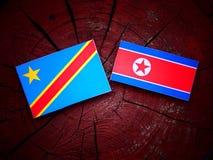 与北朝鲜的旗子的刚果民主共和国旗子在树桩 免版税库存照片