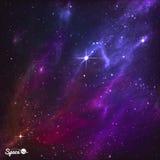 与北极星和紫色星云的五颜六色的夜空 也corel凹道例证向量 图库摄影
