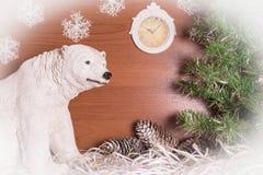 与北极熊的圣诞节静物画 免版税图库摄影