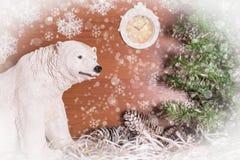 与北极熊的圣诞节静物画 图库摄影