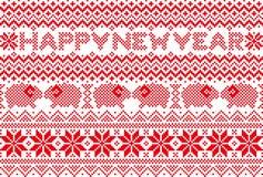 与北欧样式的新年卡片 库存图片