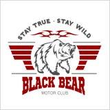 与北美灰熊的头的狂放和自由葡萄酒印刷术, T恤杉印刷品图表 皇族释放例证