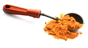 与匙子的姜黄粉末 免版税库存照片