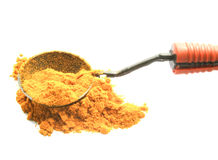 与匙子的姜黄粉末 免版税库存图片