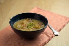与匙子的花椰菜汤 免版税库存图片