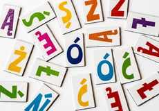 与区别符的波兰五颜六色的信件 图库摄影