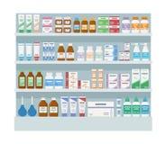 与医学的药房架子 在白色背景隔绝的大机架 皇族释放例证
