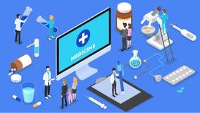 与医生的网上咨询 遥远的药物治疗 库存例证
