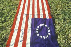 与十三星形的美国国旗 免版税库存照片