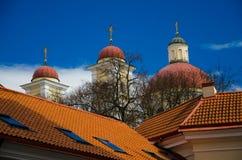 与十字架和红瓦顶,维尔纽斯,Lithuani的教会圆顶 免版税库存图片