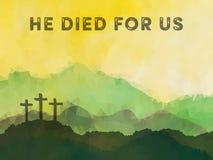 与十字架的复活节场面 耶稣基督多角形传染媒介设计 库存例证