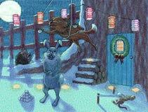 与午夜雪球战斗 库存照片