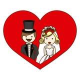 与半身体动画片的五颜六色的剪影心脏与夫妇结婚 免版税库存照片