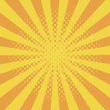 与半音作用和镶有钻石的旭日形首饰的漫画书元素的可笑的背景与小点和阳光 黄色starburst摘要背景 向量例证