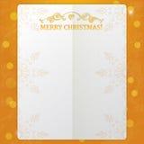 与华丽元素的花梢纸框架和在橙色背景的文本圣诞快乐与发光的光和bokeh 库存照片
