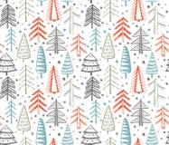 与华丽圣诞树的无缝的样式 免版税库存图片